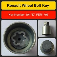 "Genuine Renault locking wheel bolt / nut key FER 1708 104 ""D"""