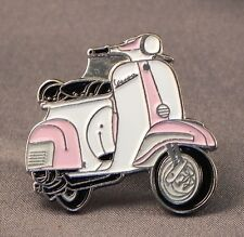 Metal Enamel Pin Badge Brooch Vespa Scooter Motorbike Biker Rider Pink & White