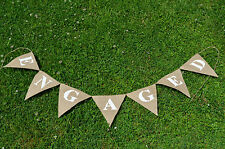 Engaged Hessian Rustic Bunting Vintage Wedding Decorations Party Burlap Banner