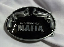 NEW INSURED BY MAFIA  BELT BUCKLE W/ TWO SMOKING PISTOLS REVOLVERS