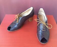 "NW3 By Hobbs Leather Peep Toe Lace Up ""Eliza"" Shoes Sz EU 38 US 7.5-8 (£135)"