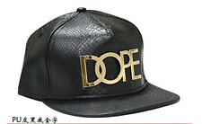 Leather Gold Dope Emblem Hiphop Dancer Snapback Baseball Flat Bill Visor Hat