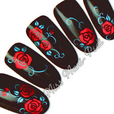 Nail Art Water Decals Transfers Wraps Stickers Red Blue Roses Flower Floral Y043