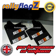 rallyflapZ MITSUBISHI EVO 6(99-01)6th Gen Mud Flaps Black Logo White R&O 3mm PVC