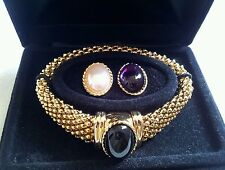 VINTAGE ELIZABETH TAYLOR WHITE DIAMONDS GOLD BRACELET IN ORIGINAL BOX