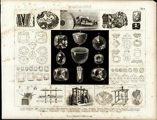 Mineralogy Gem Stones Lathe Grinder wonderful ca. 1870 unusual old science print