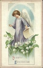 EASTER TIDE Angel in Purple Gown Among Lily of the Valley Flowers c1910 PC
