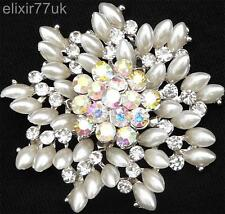 "2"" LARGE SILVER FAUX PEARL FLOWER BROOCH RHINESTONE CRYSTAL BROACH WEDDING PARTY"