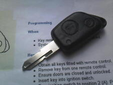 GENUINE PEUGEOT 206 306 ETC (INFRA RED & 12MM) 2BUTON REMOTE ALARM UNCUT KEY FOB
