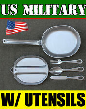 GENUINE U.S. MILITARY MESS KIT COOK SET UTENSILS FORK SPOON KNIFE ARMY STAINLESS