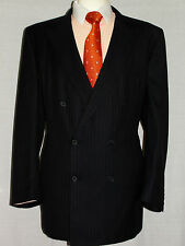 MEN'S H.HUNTSMAN DOUBLE BREAST PINSTRIPE DESIGNER SUIT JACKET UK 50L