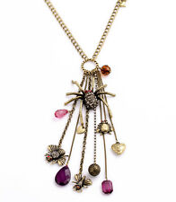 N858 Betsey Johnson Halloween Spider Tarantula Black Widow Bee Chain Necklace US