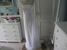 Ice white destination wedding dress with beadwork size 12/14 lace up