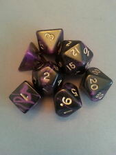 Dice & Games Oblivion 7 x Polyhedral Poly Dice Set Purple with Black  D&D RPG