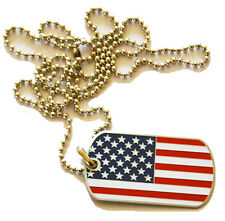 American America Stars & Stripes Flag New Metal Dog Tag ID Necklace Line Dancing