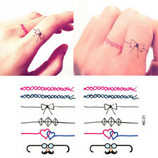 Temporary Tattoo Black Ring Ankle Finger Tattoo Mustache Bow Diamond TT418