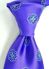NWT Nordstrom Satin Purple Silk Neck Tie w/ Woven Blue Medallions