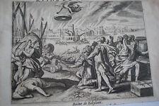 GRAVURE SUR CUIVRE RUINE DE BABYLONE-BIBLE 1670 LEMAISTRE DE SACY (B255)