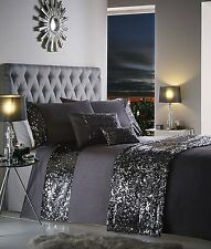 SUPER KING DUVET COVER SET DAZZLE CHARCOAL SLATE SEQUIN DETAILING BLING BEDDING