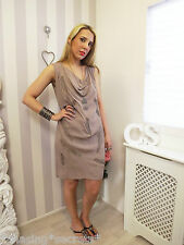 GREAT PLAINS Taupe Embellished Beaded Slouchy bohemian Dress S 10 12