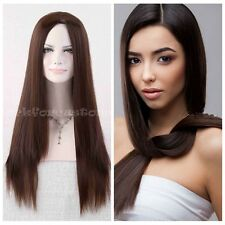Women's Long Straight Dark Brown Wigs Fashion Costumes Cosplay Wig Party Wig+Cap