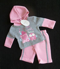 Baby clothes GIRL newborn 0-1m jog suit/outfit pink/grey owl hood top/trousers