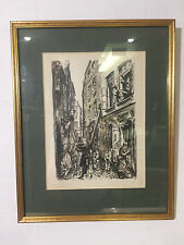 FRAMED ETCHING - WARSAW - KNIGHT STREET - OLD TOWN - VR