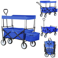 Collapsible Folding Wagon Cart w/Canopy Utility Garden Outdoor Sports Beach Toy