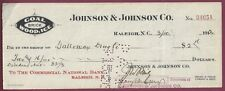 Josiah W. Bailey, North Carolina Senator, Signed Check, COA, UACC RD 036