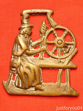 Vintage Solid Horse Brass - Walsh Lady at Her Spinning Wheel