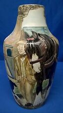 BURSLEM POTTERY ALONG THE TOWPATH 26cm STONEWARE VASE - HORSE CANAL NARROWBOAT