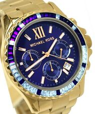 NEW MICHAEL KORS EVEREST GOLD TONE GLITZ NAVY CHRONOGRAPH LADIES WATCH MK5754