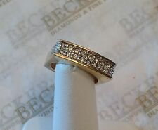 Unique 14k yg Squared Band Ring 24 Diamonds .50 tw, HI-I1 size 6.75