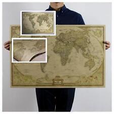 72x47cm Rétro Affiche Papier Kraft Antique Carte Monde Planisphère Poster Cadeau