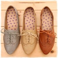 BN Women's Classic Pointed Toe Lace Up Oxford Ballet Flats Boots Shoes 3 Colors