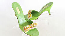 NEW DESIGNER DELMAN GREEN LEATHER RIBBON BOW DETAIL MED HEEL MULES  SIZE 8.5 M