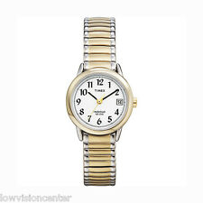 Ladies' Two Tone Timex Watch with Date Indiglo Light for Low Vision Easy to See