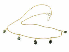 Moldavite 6.89g necklace Gold 14K faceted moldavites drop+ CERTIFICATE CERTIF075