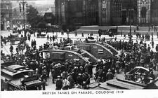 WW1 British Tank on Parade Outside Cologne Cathedral 1919 RP Postcard Re Print