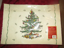 "Spode Christmas Tree Placemat - set of 4 placemats NEW Linen placemat 13"" x 19"""