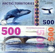 ARCTIC Territories 500 Dollars Banknote World Money Currency FUN Note Whale
