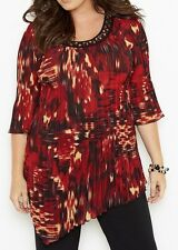 CATHERINES VERY MERRY BEADED BLOUSE - PLUS SIZE 5X (34/36W)