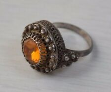 Vintage Sterling Silver 925 Russian Filigree Woman's Ring with Orange Stone S 8