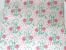 VTG WW2 CHRISTMAS DEPT. STORE WRAPPING PAPER 2 YARDS GIFT WRAP CANDLES 1940s