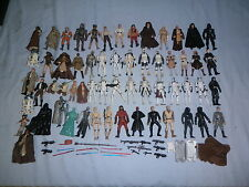 lot of 59 star wars action figures with weapons and acc's