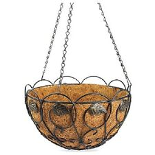 "(1) NEW 14"" ROUND BRUSHED BRONZE SCROLL & IVY HANGING BASKET PLANTER - 88560"