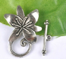5Sets Tibetan Silver Flower Toggle Clasps SH134