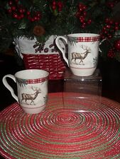 222 FIFTH MOUNT HOLLY GREEN SET/4 COFFEE MUGS/CUPS CHRISTMAS PINECONES
