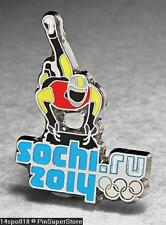 OLYMPIC PINS BADGE 2014 SOCHI RUSSIA CUT OUT SPORT OF SKELETON (SILVER )