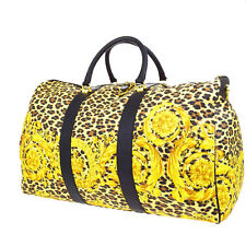 Authentic GIANNI VERSACE Travel Hand Bag PVC Leather Leopard Yellow Gold 66S362